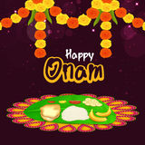 Greeting card for Happy Onam celebration. Royalty Free Stock Image