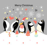 Greeting card with happy penguins Royalty Free Stock Photography