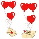 Valentines day. Greeting card happy saint valentine day, bank with hearts, letter with wings, envelope, balloons in uniforms, stickers, vector illustration Stock Photos