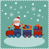 Greeting card with happy Santa Royalty Free Stock Photos
