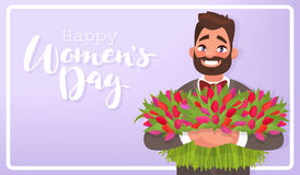 Greeting Card Happy 8th of March. International Women`s Day. Man Royalty Free Stock Photo