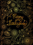 Greeting card happy thaksgiving gold and tinsels royalty free illustration
