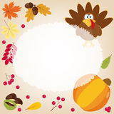 Greeting card. Happy Thanksgiving funny illustration. Greeting card with turkey, autumn leaves, pumpkins, acorns, chestnuts, berries in cartoon style. Funny Stock Images