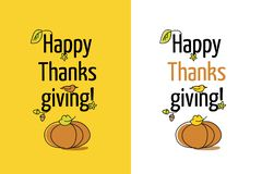 Greeting card Happy Thanksgiving with pumpkin and leave. royalty free illustration