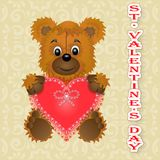 Greeting card Happy Valentine`s Day bear keeps the heart in its paws royalty free illustration