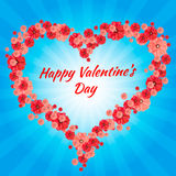 Greeting Card Happy Valentine s Day, hearts,. Background, divergent rays royalty free illustration