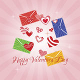 Greeting Card Happy Valentine s Day. Hearts, pink background, divergent rays stock illustration