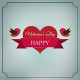 Greeting card Happy Valentine's Day in the old style frame. Hearts with ribbon and two birds with a festive mood on a light green background Royalty Free Stock Photo