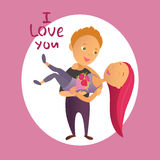 Greeting card with Happy Valentine`s Day. Stock Photo