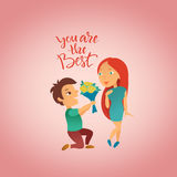 Greeting card for Happy Valentine`s Day. Royalty Free Stock Photo
