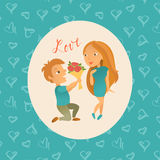 Greeting card with Happy Valentine`s Day. Royalty Free Stock Photo