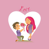 Greeting card with Happy Valentine`s Day. Royalty Free Stock Image