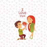 Greeting card with Happy Valentine`s Day. Stock Images