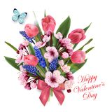Greeting card happy Valentines day with a bouquet of pink. Greeting card happy Valentines day with a bouquet of flowers pink tulips, cherry blossoms ,blue Royalty Free Stock Photos