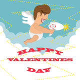 Greeting card happy Valentines day. design. Funny cupid fires his blaster Royalty Free Stock Photography