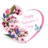 Greeting card happy Valentines day with a heart of flowers pink tulips cherry blossoms with blue butterfly. Template for royalty free illustration