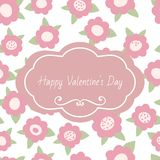 Greeting card Happy valentines day. Tender floral Stock Photography