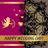 Greeting card `Happy wedding day !`. Vintage golden style Decorative,abstract,floral elements,gold patterns on a pink background. A heart and a golden Cupid stock illustration