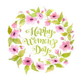 Greeting card Happy Women`s Day with flower wreath and lettering. Watercolor 8 March card. Greeting card Happy Women`s Day with spring flower wreath. Watercolor Royalty Free Illustration