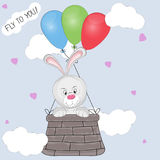Greeting card the  hare cub flies in a basket tied to balloons. Vector illustration Stock Photo