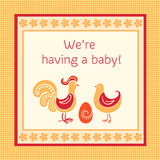Greeting card we are having a baby Stock Photo