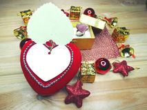 Greeting card heart composition on wooden background Royalty Free Stock Photography