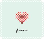 Greeting card with heart and embroidered lettering. Valentine`s Day. Vector illustration. Stock Images