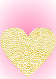 Greeting card heart filled with golden hearts Stock Image