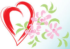 Greeting card with heart and flowers Stock Photography