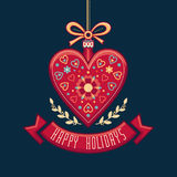 Greeting Card in heart form. Happy Holidays. Stock Image