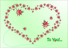 Greeting card with heart of ladybirds, vector Royalty Free Stock Photos