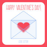 Greeting card with heart in the letter and text happy valentine's day Royalty Free Stock Image