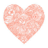 Greeting card with heart made of flowers Royalty Free Stock Photos
