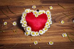 Greeting card of heart with marguerites and butterflies on wooden board Royalty Free Stock Photos