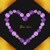 Greeting card with heart of purple gems on background in black and gold colors, vector illustration Stock Images
