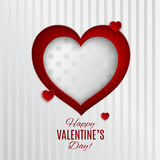 Greeting card with heart. Red and white dotted heart vector illustration on white textile striped background with frame for valentines day greeting card, paper royalty free illustration