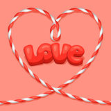 Greeting card with heart from rope. Concept can be. Used for Valentines Day, wedding or love confession message Royalty Free Stock Image