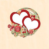 Greeting card with a heart and rose Royalty Free Stock Images