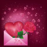 Greeting card with heart and rose. In envelope Stock Images