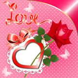 Of a greeting card with a heart and a rose Royalty Free Stock Image