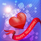 Greeting card with heart in the sky. Valentine day greeting card with heart flying in the sky royalty free illustration