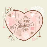 Greeting card with heart for Valentine's Day. Stock Image