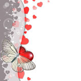 Greeting card with hearts. And butterfly Royalty Free Stock Photos