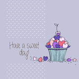 Greeting card with  hearts and cupcakes Stock Photo