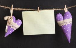 Greeting card with hearts. Message card with handmade hearts of the cloth with polka dots on a rope with clothespins, greeting and love concept, happy birthday stock image
