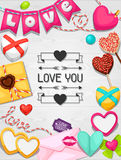 Greeting card with hearts, objects, decorations Royalty Free Stock Photography