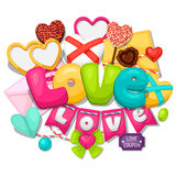 Greeting card with hearts, objects, decorations Stock Images