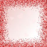 Greeting card with hearts. Red sparkle. Frame of hearts. Border with Confetti. Valentine`s day royalty free illustration