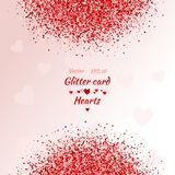 Greeting card with hearts. Red sparkle. Shimmer. Greeting card with hearts Red sparkle. Shimmer Stock Images