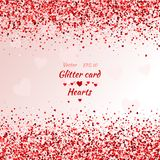 Greeting card with hearts. Red sparkle. Shimmer. Vector card with shimmer. Greeting card with hearts. Red sparkle. Shimmer. Shiny card. Red sparkles. Frame of vector illustration